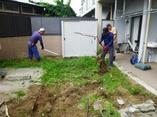 マンション専用庭防草工事
