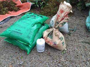 土壌改良作業、道具準備